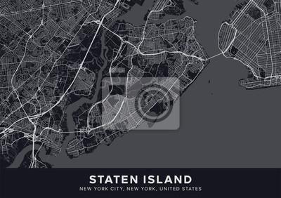 Staten Island map. Dark poster with map of Staten Island borough (New York, United States). Highly detailed map of Staten Island with water objects, roads, railways, etc. Printable poster.
