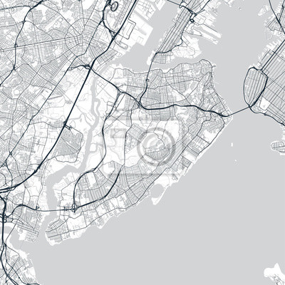 Staten Island map. Light map of Staten Island borough (New York, United States). Highly detailed map of Staten Island with water objects, roads, railways, etc.