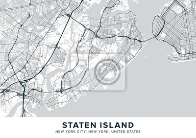 Staten Island map. Light poster with map of Staten Island borough (New York, United States). Highly detailed map of Staten Island with water objects, roads, railways, etc. Printable poster.