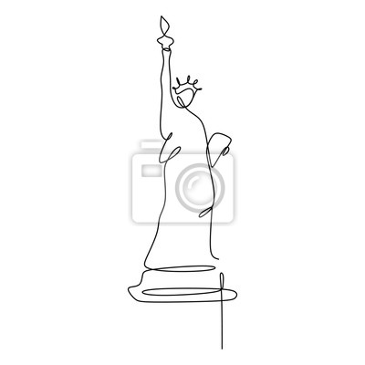 Statue of Liberty continuous one line vector illustration minimalist concept