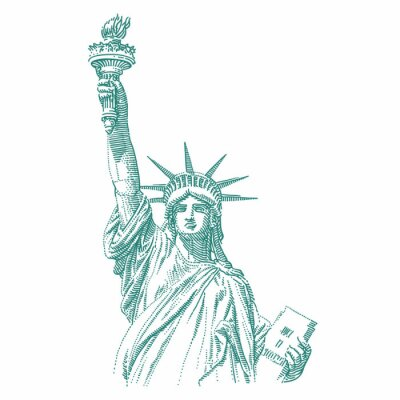 Sticker Statue of Liberty engraving style illustration. Engraved style drawing. Vector.