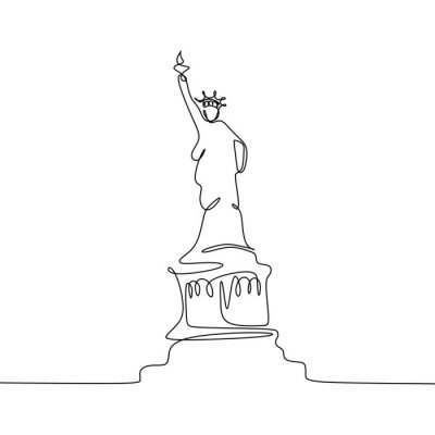 Statue of Liberty Isolated one white background with continuous one line drawing vector illustration