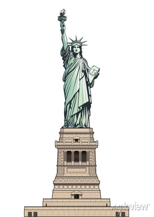 Sticker Statue of Liberty on its base pedestal. Vector illustration