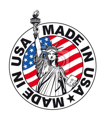 Statue of Liberty, Stamp Made in USA. Vector