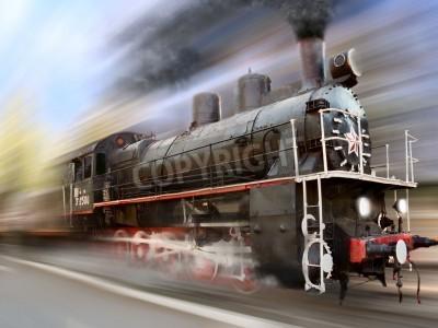 Sticker steam engine, locomotive in motion blur