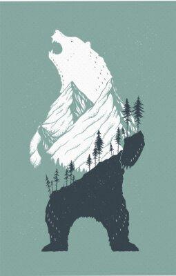 Sticker Stehende Bär Illustration