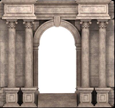 Sticker Steintreppen und Eingangsbereich mit korinthischen Säulen. 3D-Darstellung.