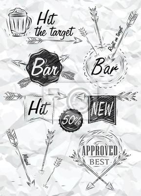Stellen Sammlung Emblem der Bar, Boom Pfeil, Symbol stilisiert drawi