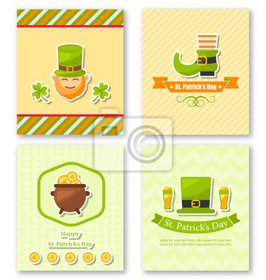 Stellen Sie Gruß-Plakate mit traditionellen Symbolen für St. Patricks ein