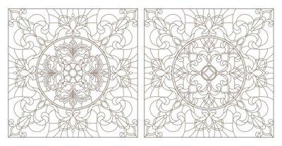 Sticker Stellen Sie Konturillustrationen des Buntglases mit abstrakten Strudeln und Blumen, quadratisches Bild ein