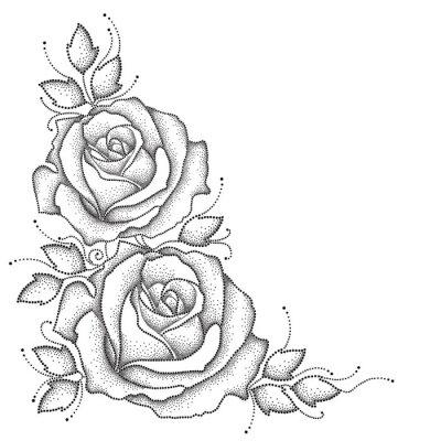 Sticker Stem mit punktierten Rose Blume und Blätter isoliert auf weißem Hintergrund. Florale Elemente in dotwork Stil.