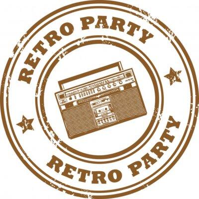 Stempel, mit dem alten Radio und Text Retro Party nach innen geschrieben