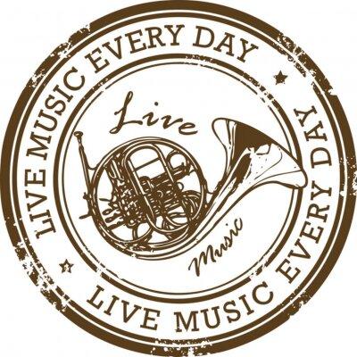 Stempel mit dem Wort Leben Musik innerhalb der Stempel geschrieben