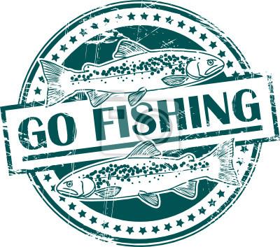 Stempel mit Fisch-Form und dem Text Go Fishing