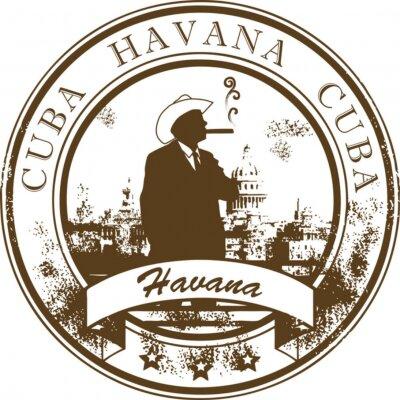 Stempel mit Kuba, Havanna innen, Vektor