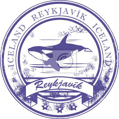 Stempel mit Orca und Worte Reykjavik, Island