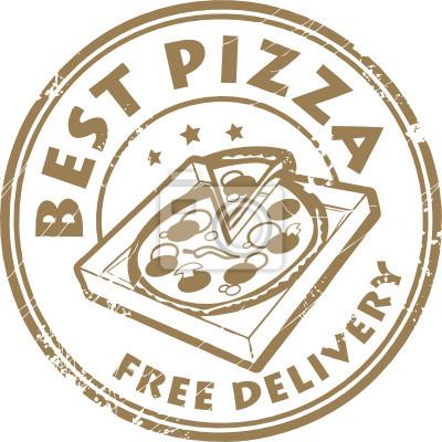 Stempel mit Pizza in der Box und dem Text Die beste Pizza - Lieferung frei