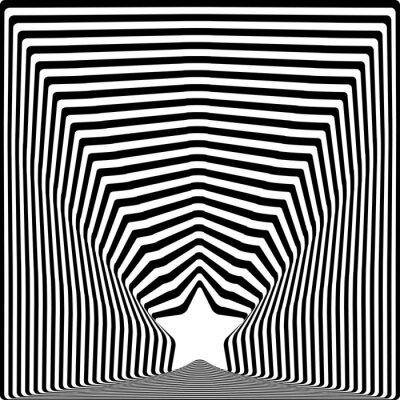 Sticker Sterne schwarze Streifen optische Täuschung visuellen Kunst-Effekt.
