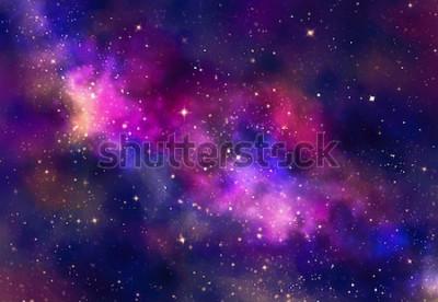 Sticker Sternfeld im Galaxieraum mit Nebelfleck, digitale Kunstmalerei des abstrakten Aquarells für Beschaffenheitshintergrund
