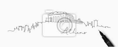 Stift Linie Silhouette Athen