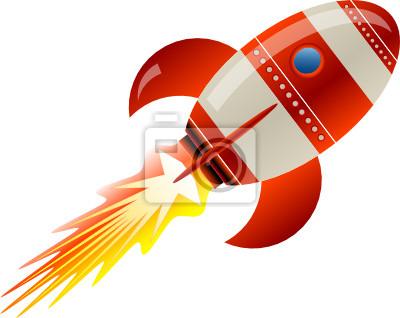 Stilisierte Vektor-Illustration einer Rakete, die weg
