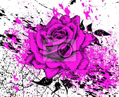 Stilvolle lila Rose mit Spritzer von Tinte und Textur Risse, Blätter, Hand gezeichnet, Vektor-Illustration, künstlerischen Hintergrund mit Blumen