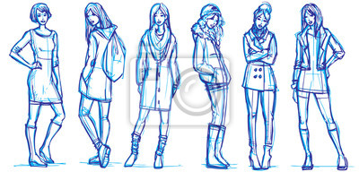 Stilvolle Mädchen Mode Illustration. Skizzenhafte Vektor-Zeichnung.