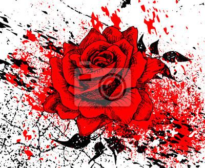 Stilvolle rote Rose mit Spritzer von Tinte und Textur Risse, Blätter, Hand gezeichnet, Vektor-Illustration, künstlerischen Hintergrund mit Blumen