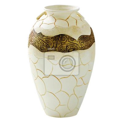 stock-Foto-Beige-dekorative-Ton-Vase-Amphore-auf-dem-weißen-Hintergrund-Vintage