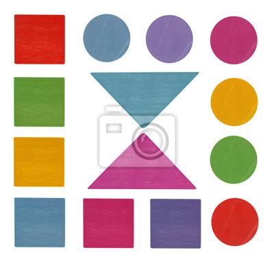 Stock-Foto-bunte-Holz-Kinder-Spielzeug-geometrische-Formen-und-Details-isoliert-auf-den-weißen Hintergrund