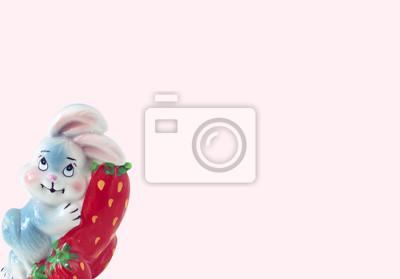 stock-foto-hintergrund-für-text-und-kinder-keramik-bunny-figur-on-pink-banner