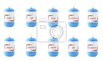 Stock-Foto-Set-verschiedene Arten-in-Plastik-Gläser-isoliert-auf-den-weißen Hintergrund
