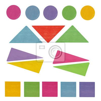stock-Foto-Top-View-auf-bunten-Holz-Kinder-Spielzeug-geometrische-Formen-Dreiecke-Circle-Square-isoliert-auf-dem-weißen-Hintergrund