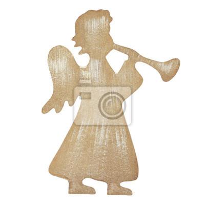 stock-Foto-Weihnachten-Figur-von-einem-Engel-mit-einer-Trompete-isoliert-auf-Weiß-Hintergrund