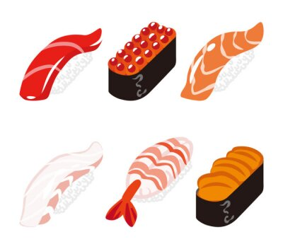Sticker Stockfoto - Sushi Six Objekte gesetzt