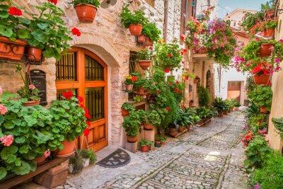 Sticker Straße in kleinen Stadt in Italien im Sommer, Umbrien