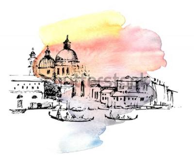 Sticker Straßen in Venedig mit Gondel, Italien. Hand gezeichnete Skizze auf buntem Aquarellhintergrund.