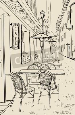 Sticker Straßencafé in der Altstadt von Skizze Abbildung.