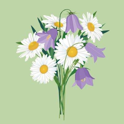 Sticker Strauß Margeriten und Glockenblumen, Wildblumen