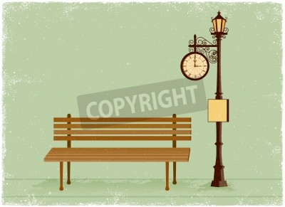 Sticker Street clock and lamp post with park bench in vintage vector style