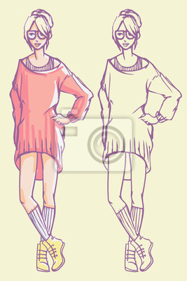 Street Style Look - Baggy Strickkleid, Socken und Stiefel. Bunte Hand gezeichnet Illustration und skizzieren Skizze