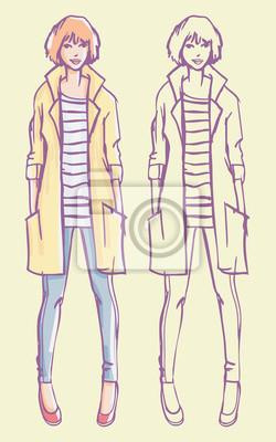 Street Style Look - gelber Regenmantel, gestreiftes Hemd und Jeans. Bunte Hand gezeichnet Illustration und skizzieren Skizze