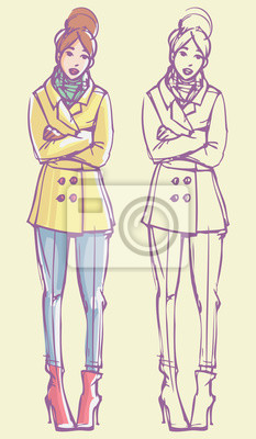 Street Style Look - Jacke, Jeans, High Heel Stiefel und Schal. Bunte Hand gezeichnet Illustration und skizzieren Skizze