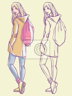 Street Style Look - Mantel, Jeans und Rucksack. Bunte Hand gezeichnet Illustration und skizzieren Skizze