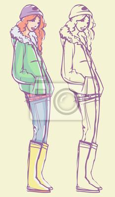 Street Style Look - Parka, Jeans, Strickmütze und Stiefel. Bunte Hand gezeichnet Illustration und skizzieren Skizze