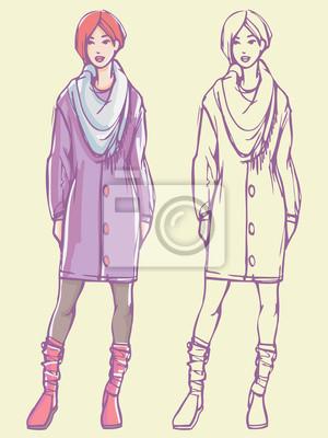 Street Style Look - Strickjacke, Strumpfhosen, Stiefel und Schal. Bunte Hand gezeichnet Illustration und skizzieren Skizze