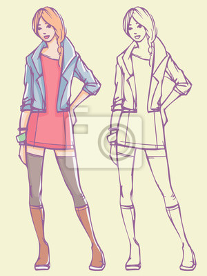 Street Style sexy Look - Minikleid, Jeansjacke und Stiefel. Bunte Hand gezeichnet Illustration und skizzieren Skizze