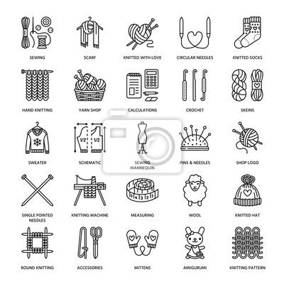 Stricken, häkeln, handgemachte linie symbole gesetzt. stricknadel ...