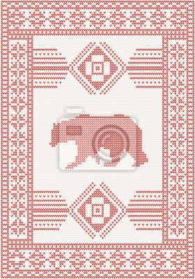 Strickmuster mit Bär