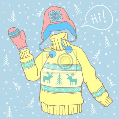 Strickpullover mit Handschuh und Winterhut. Cartoon-Stil Vektor-Illustration